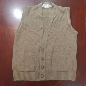 London Fog Button Up Down Pocket Sweater  Vest